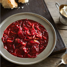 Borscht and Hazelnut Torte Diptych